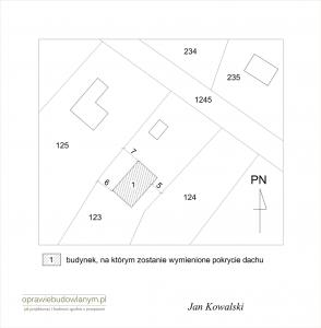 Zgłoszenie wymiany pokrycia dachu - przykładowy rysunek