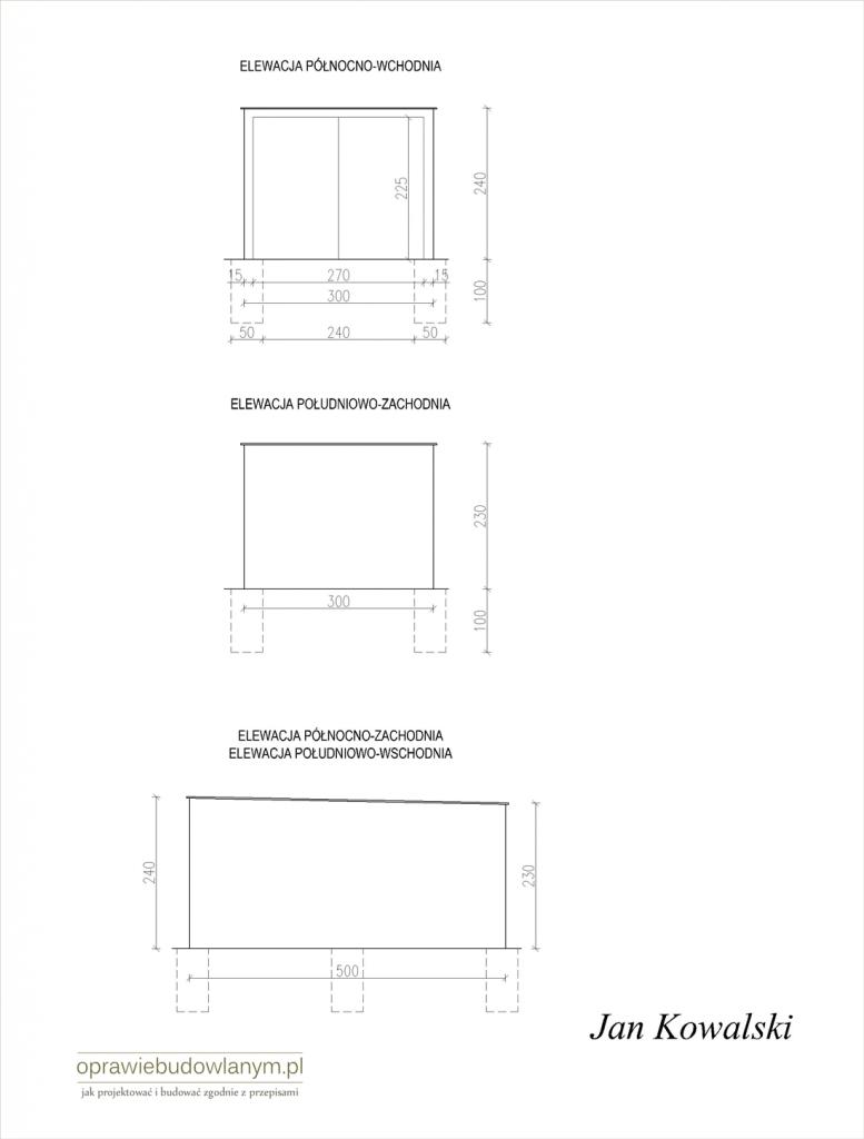Przykładowe rysunku do zgłoszenia budowy garażu blaszaka