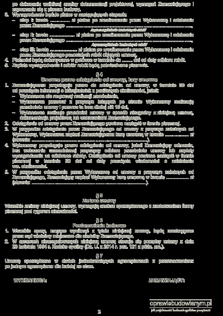 Przykład umowy o roboty budowlane