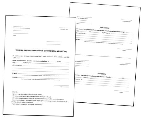 Przeniesienie pozwolenia na budowę - wzory pism